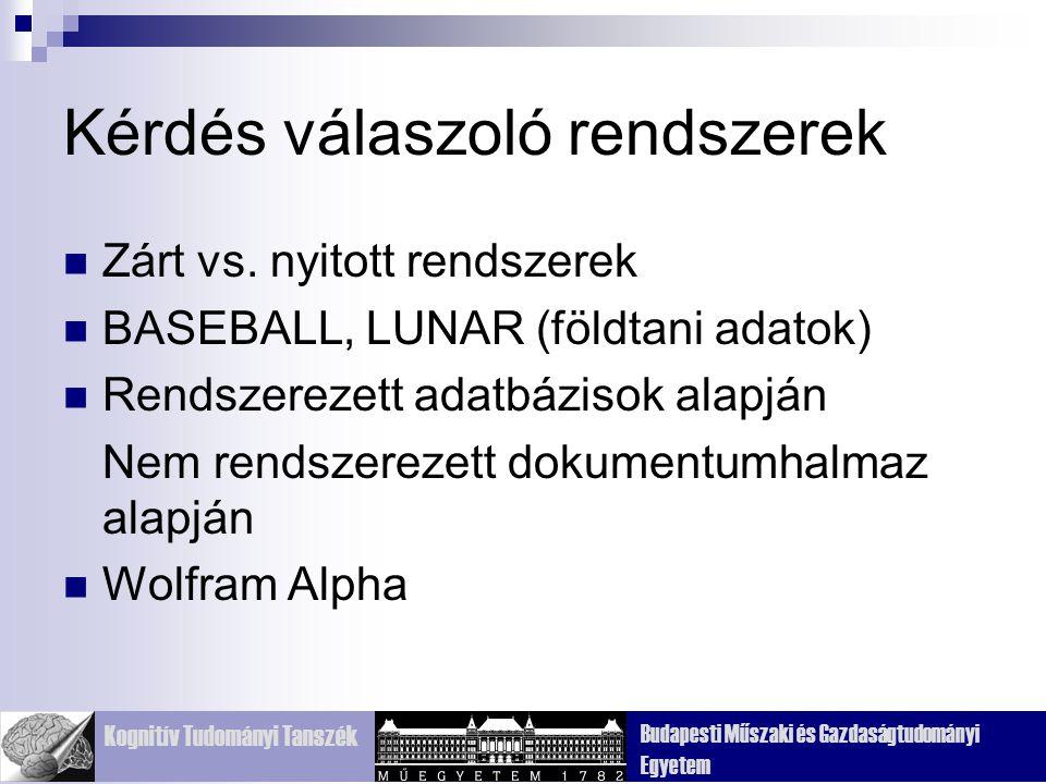 Kognitív Tudományi Tanszék Budapesti Műszaki és Gazdaságtudományi Egyetem Kérdés válaszoló rendszerek Zárt vs.