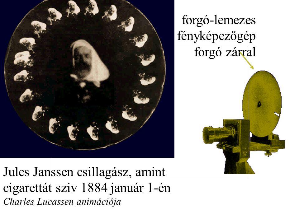 Jules Janssen csillagász, amint cigarettát sziv 1884 január 1-én Charles Lucassen animációja forgó-lemezes fényképezőgép forgó zárral