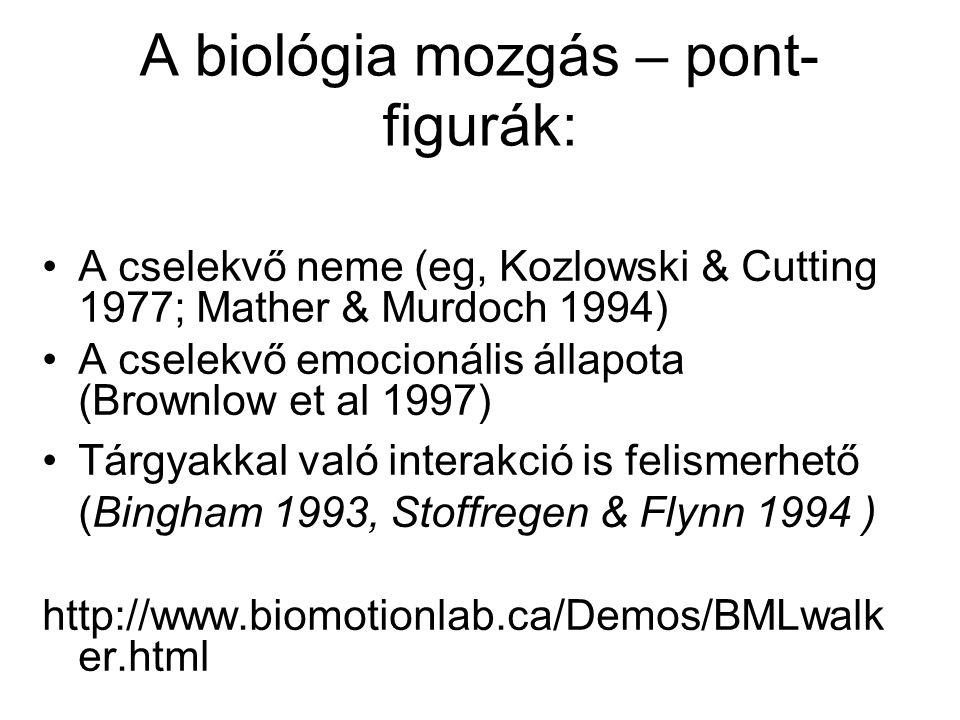 A biológia mozgás – pont- figurák: A cselekvő neme (eg, Kozlowski & Cutting 1977; Mather & Murdoch 1994) A cselekvő emocionális állapota (Brownlow et al 1997) Tárgyakkal való interakció is felismerhető (Bingham 1993, Stoffregen & Flynn 1994 ) http://www.biomotionlab.ca/Demos/BMLwalk er.html