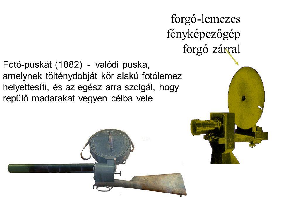 Fotó-puskát (1882) - valódi puska, amelynek tölténydobját kör alakú fotólemez helyettesíti, és az egész arra szolgál, hogy repülô madarakat vegyen célba vele forgó-lemezes fényképezőgép forgó zárral