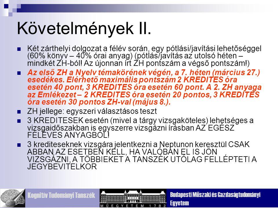Kognitív Tudományi Tanszék Budapesti Műszaki és Gazdaságtudományi Egyetem Frontális (homlok) Temporális (halánték) Parietális (fali) Occipitális (nyakszirti) Agykéreg: 4 lebeny