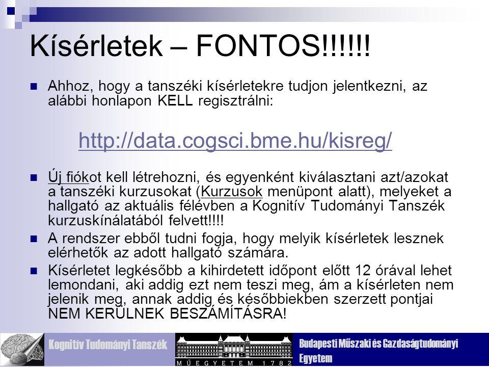 Kognitív Tudományi Tanszék Budapesti Műszaki és Gazdaságtudományi Egyetem Kísérletek – FONTOS!!!!!.