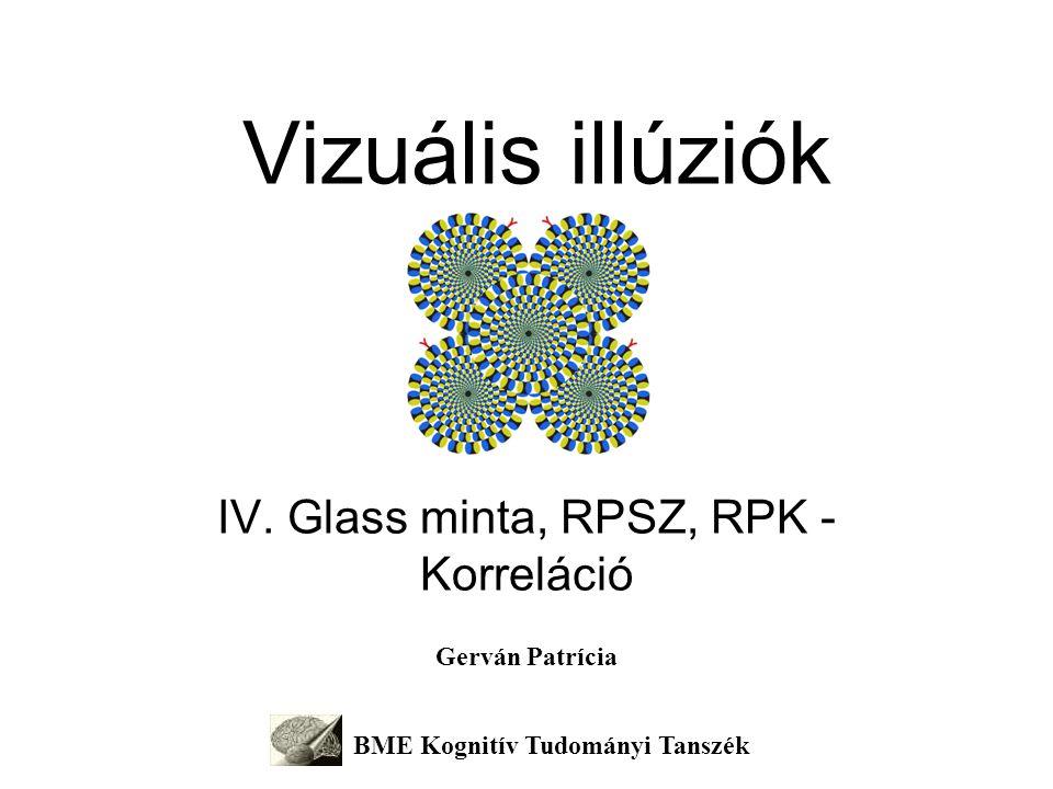 Korreláció – RPG, RPSz, RPK A látás a környezet változásait jelzi (adaptáció – utóhatások) A retina a környezet változásait kivonatolja (gátlás – kontraszt illúziók) A kéreg mintát keres a változásokban (korreláció – RPSz, RPG, RPK)