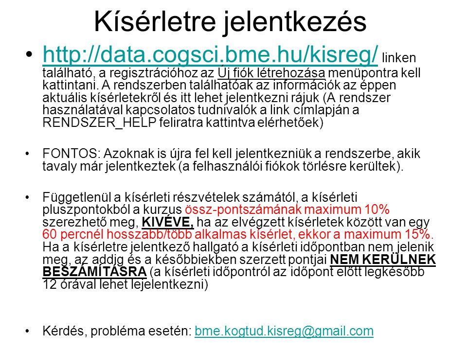 Kísérletre jelentkezés http://data.cogsci.bme.hu/kisreg/ linken található, a regisztrációhoz az Új fiók létrehozása menüpontra kell kattintani.