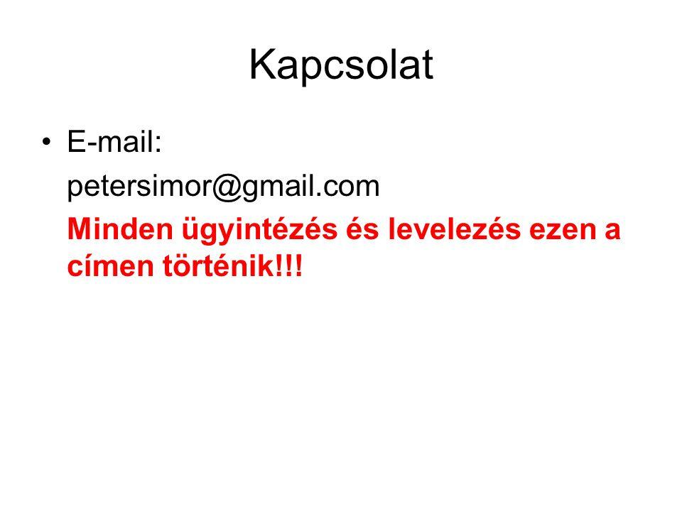 Kapcsolat E-mail: petersimor@gmail.com Minden ügyintézés és levelezés ezen a címen történik!!!