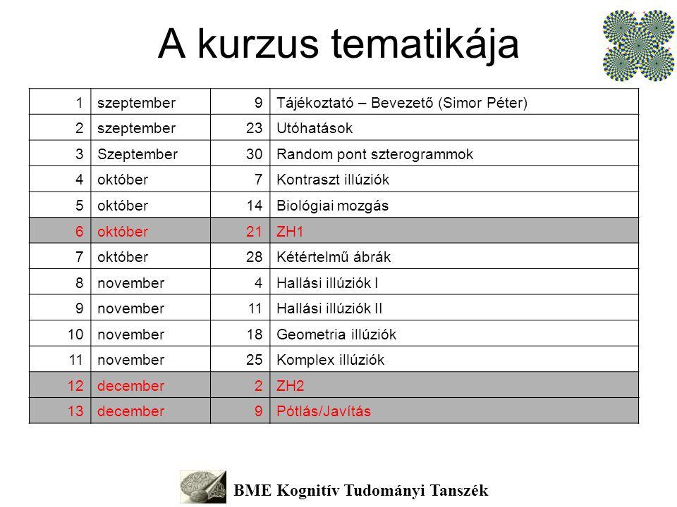 A kurzus tematikája BME Kognitív Tudományi Tanszék 1szeptember9Tájékoztató – Bevezető (Simor Péter) 2szeptember23Utóhatások 3Szeptember30Random pont s