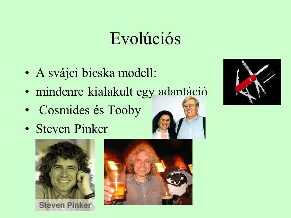 Evolúciós A svájci bicska modell: mindenre kialakult egy adaptáció Cosmides és Tooby Steven Pinker