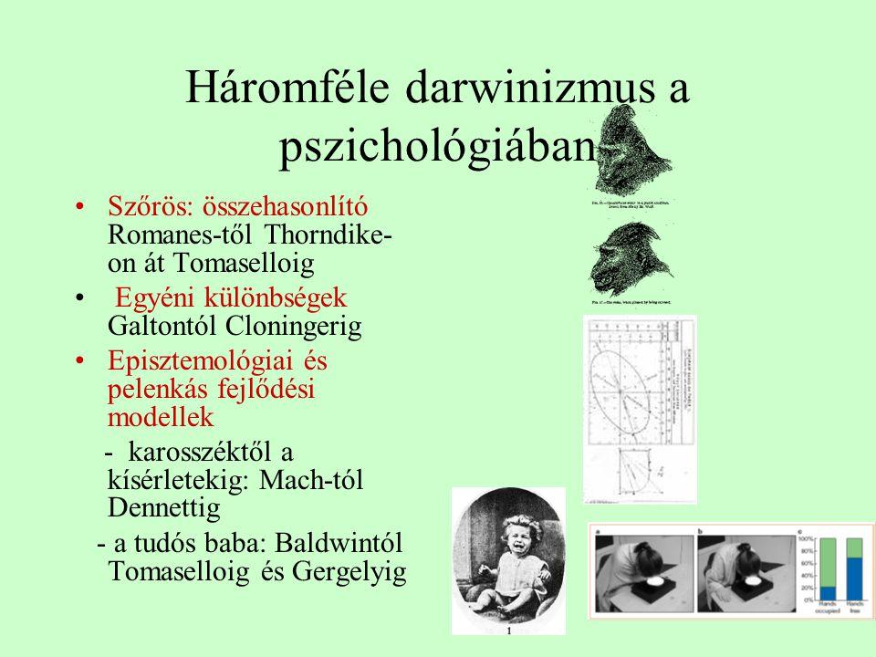 Háromféle darwinizmus a pszichológiában Szőrös: összehasonlító Romanes-től Thorndike- on át Tomaselloig Egyéni különbségek Galtontól Cloningerig Episz