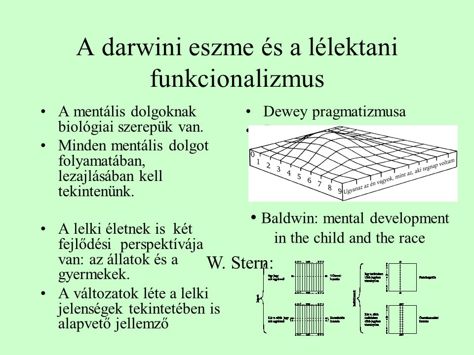 A darwini eszme és a lélektani funkcionalizmus A mentális dolgoknak biológiai szerepük van. Minden mentális dolgot folyamatában, lezajlásában kell tek
