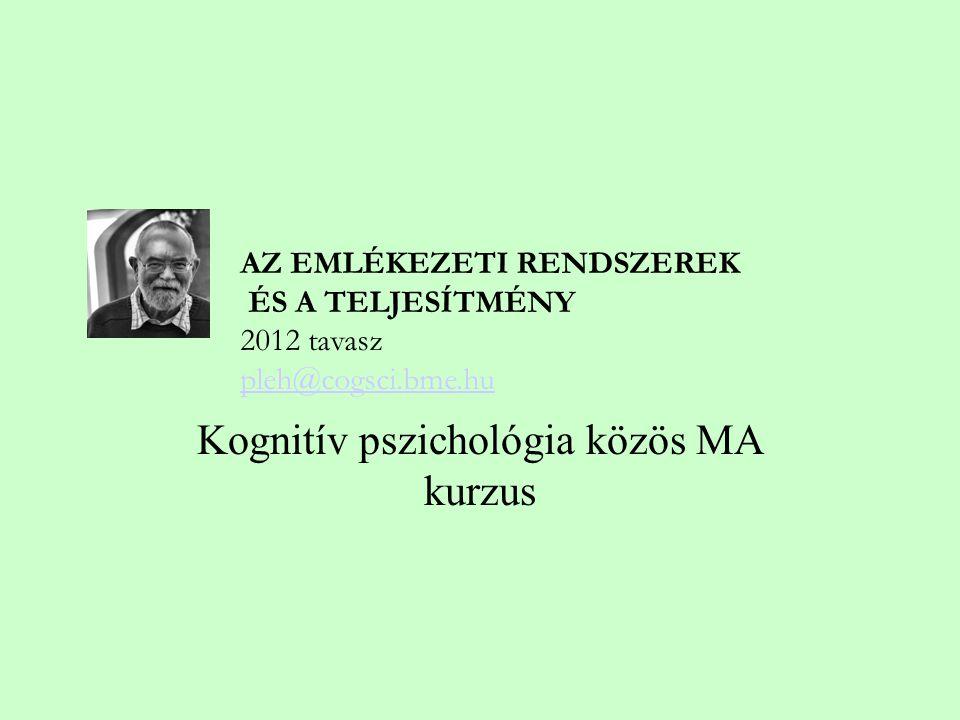 Kognitív pszichológia közös MA kurzus AZ EMLÉKEZETI RENDSZEREK ÉS A TELJESÍTMÉNY 2012 tavasz pleh@cogsci.bme.hu pleh@cogsci.bme.hu