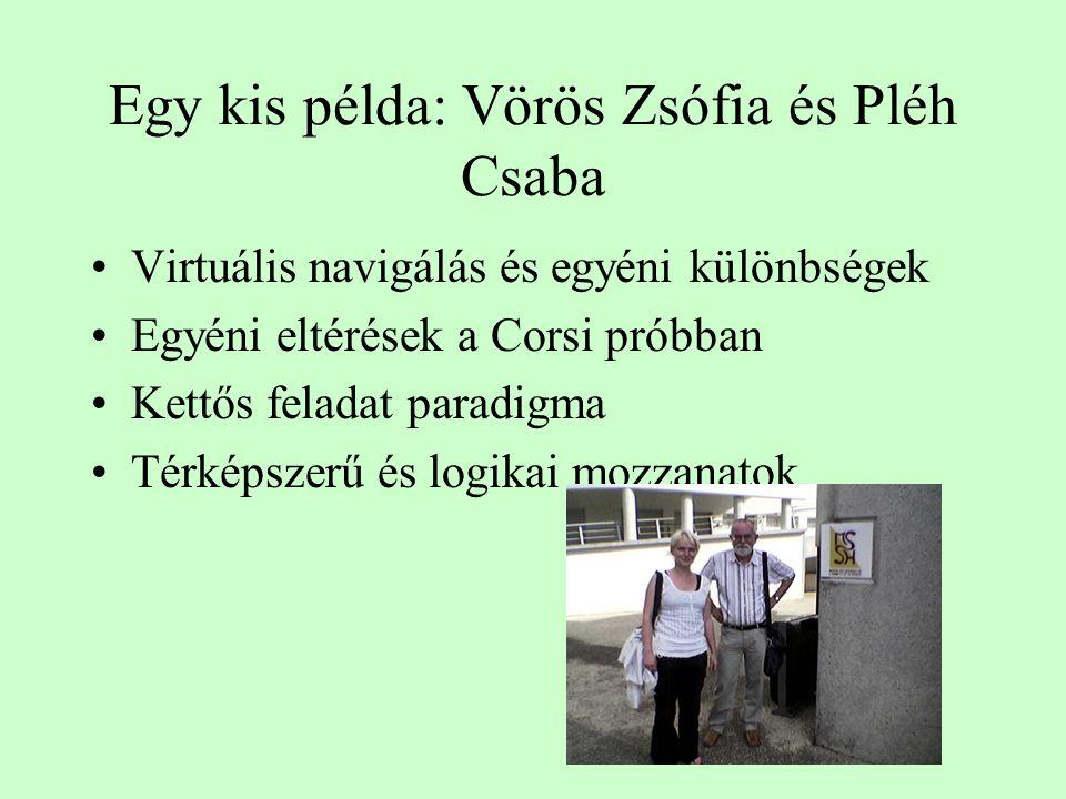 Egy kis példa: Vörös Zsófia és Pléh Csaba Virtuális navigálás és egyéni különbségek Egyéni eltérések a Corsi próbban Kettős feladat paradigma Térképsz