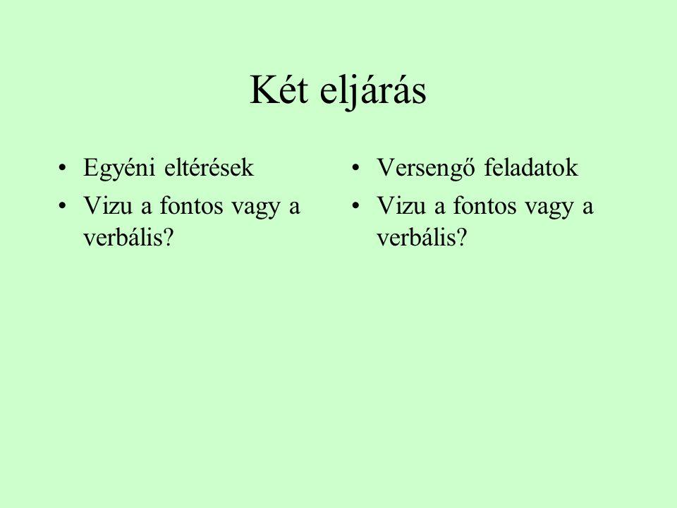 Két eljárás Egyéni eltérések Vizu a fontos vagy a verbális? Versengő feladatok Vizu a fontos vagy a verbális?