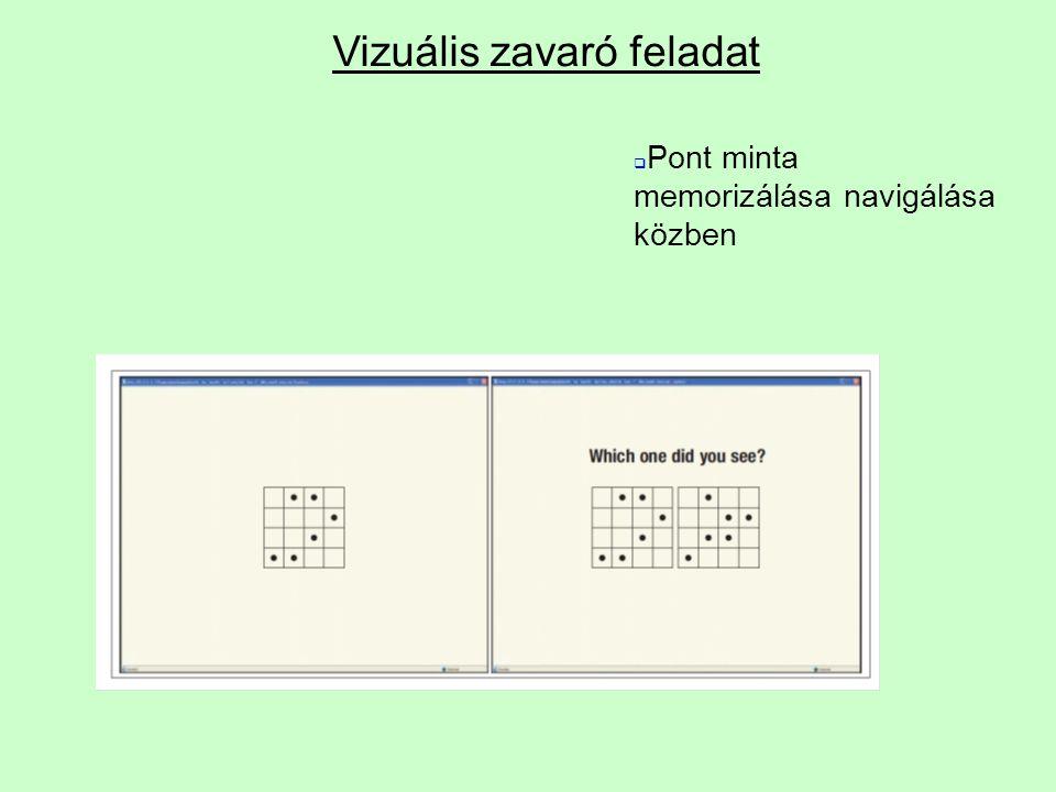 Vizuális zavaró feladat  Pont minta memorizálása navigálása közben