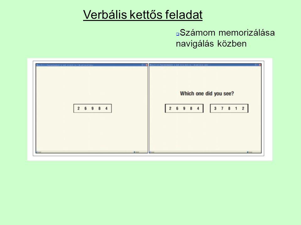 Verbális kettős feladat  Számom memorizálása navigálás közben