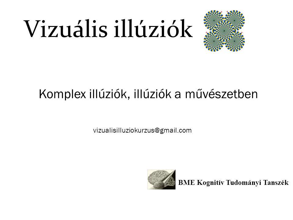 Vizuális illúziók Komplex illúziók, illúziók a művészetben BME Kognitív Tudományi Tanszék vizualisilluziokurzus@gmail.com