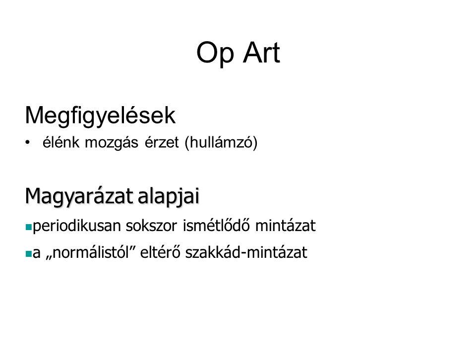 """Op Art Megfigyelések élénk mozgás érzet (hullámzó) Magyarázat alapjai periodikusan sokszor ismétlődő mintázat a """"normálistól"""" eltérő szakkád-mintázat"""
