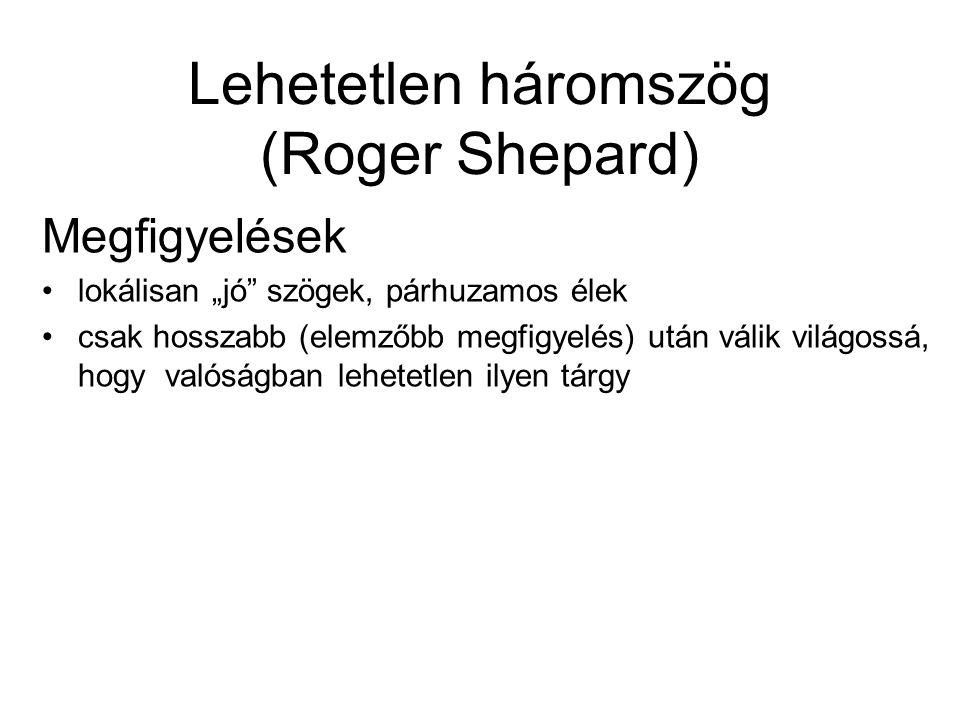 """Lehetetlen háromszög (Roger Shepard) Megfigyelések lokálisan """"jó"""" szögek, párhuzamos élek csak hosszabb (elemzőbb megfigyelés) után válik világossá, h"""