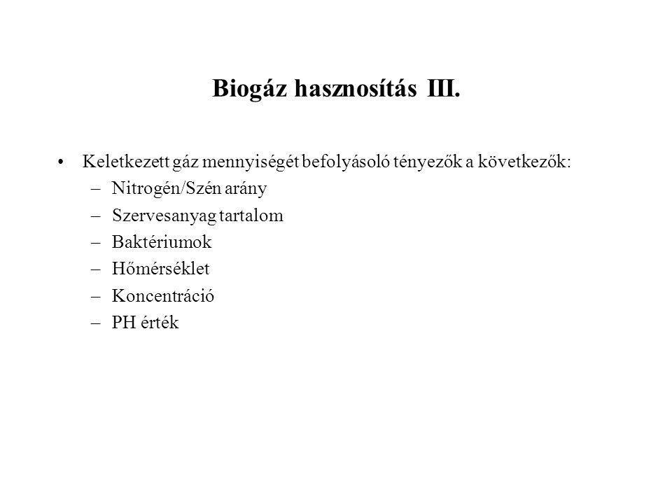 Biogáz hasznosítás III.