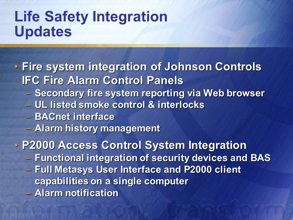 Life Safety Integration Updates Fire system integration of Johnson Controls IFC Fire Alarm Control PanelsFire system integration of Johnson Controls I