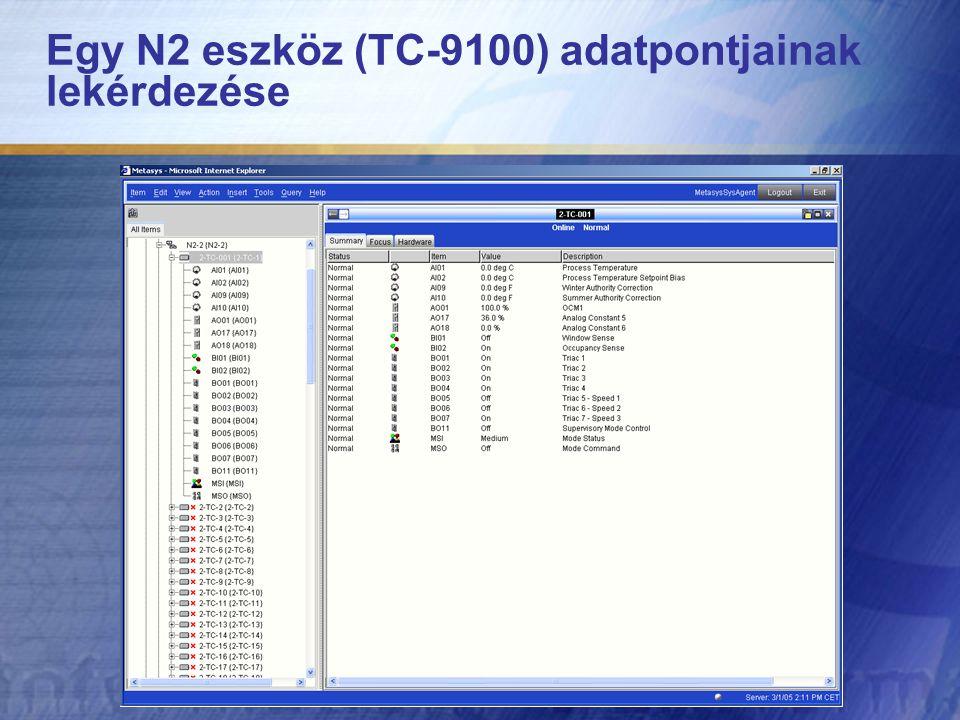 Egy N2 eszköz (TC-9100) adatpontjainak lekérdezése