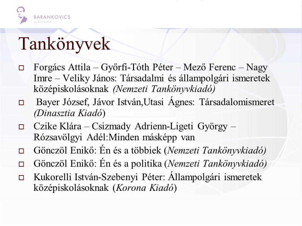 Tankönyvek  Forgács Attila – Győrfi-Tóth Péter – Mező Ferenc – Nagy Imre – Veliky János: Társadalmi és állampolgári ismeretek középiskolásoknak (Nemz