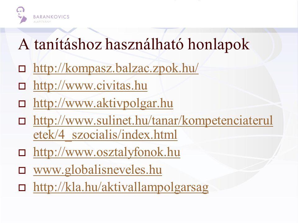 A tanításhoz használható honlapok  http://kompasz.balzac.zpok.hu/ http://kompasz.balzac.zpok.hu/  http://www.civitas.hu http://www.civitas.hu  http://www.aktivpolgar.hu http://www.aktivpolgar.hu  http://www.sulinet.hu/tanar/kompetenciaterul etek/4_szocialis/index.html http://www.sulinet.hu/tanar/kompetenciaterul etek/4_szocialis/index.html  http://www.osztalyfonok.hu http://www.osztalyfonok.hu  www.globalisneveles.hu www.globalisneveles.hu  http://kla.hu/aktivallampolgarsag http://kla.hu/aktivallampolgarsag