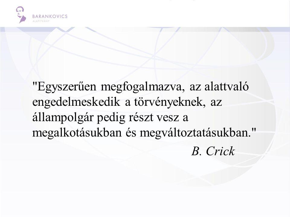 Egyszerűen megfogalmazva, az alattvaló engedelmeskedik a törvényeknek, az állampolgár pedig részt vesz a megalkotásukban és megváltoztatásukban. B.