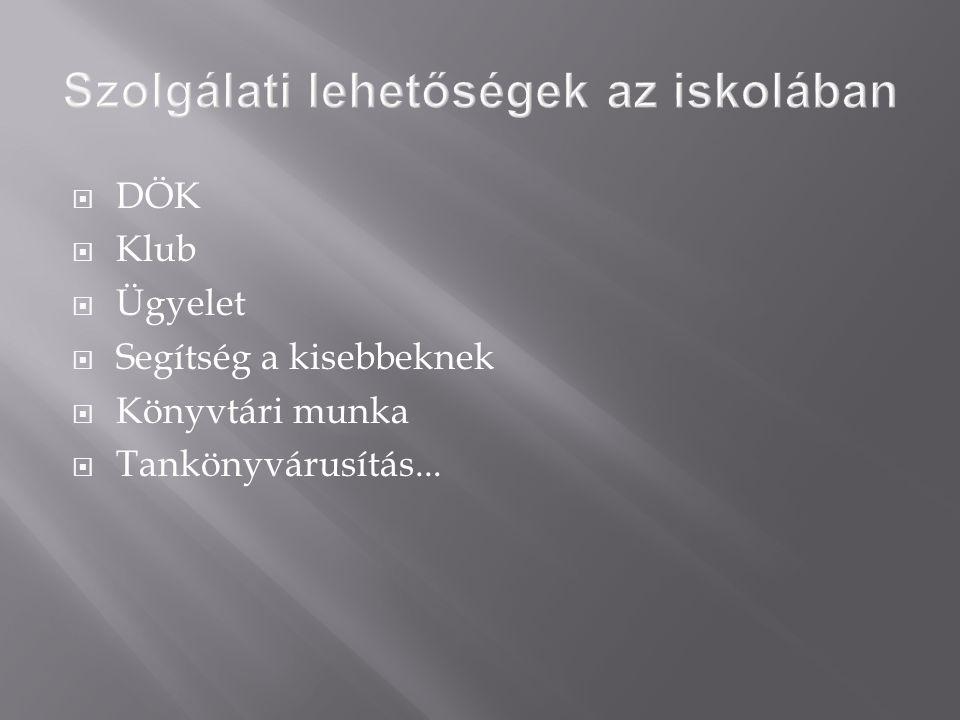  DÖK  Klub  Ügyelet  Segítség a kisebbeknek  Könyvtári munka  Tankönyvárusítás...
