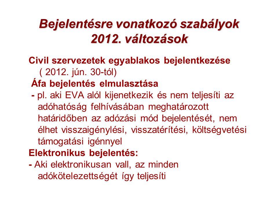 Bejelentésre vonatkozó szabályok 2012. változások Civil szervezetek egyablakos bejelentkezése ( 2012. jún. 30-tól) Áfa bejelentés elmulasztása - pl. a