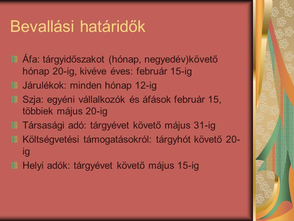 Bevallási határidők Áfa: tárgyidőszakot (hónap, negyedév)követő hónap 20-ig, kivéve éves: február 15-ig Járulékok: minden hónap 12-ig Szja: egyéni vál