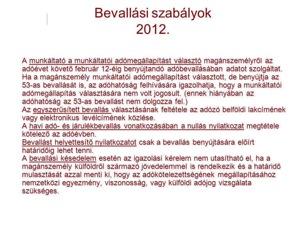 Bevallási szabályok 2012. A munkáltató a munkáltatói adómegállapítást választó magánszemélyről az adóévet követő február 12-éig benyújtandó adóbevallá