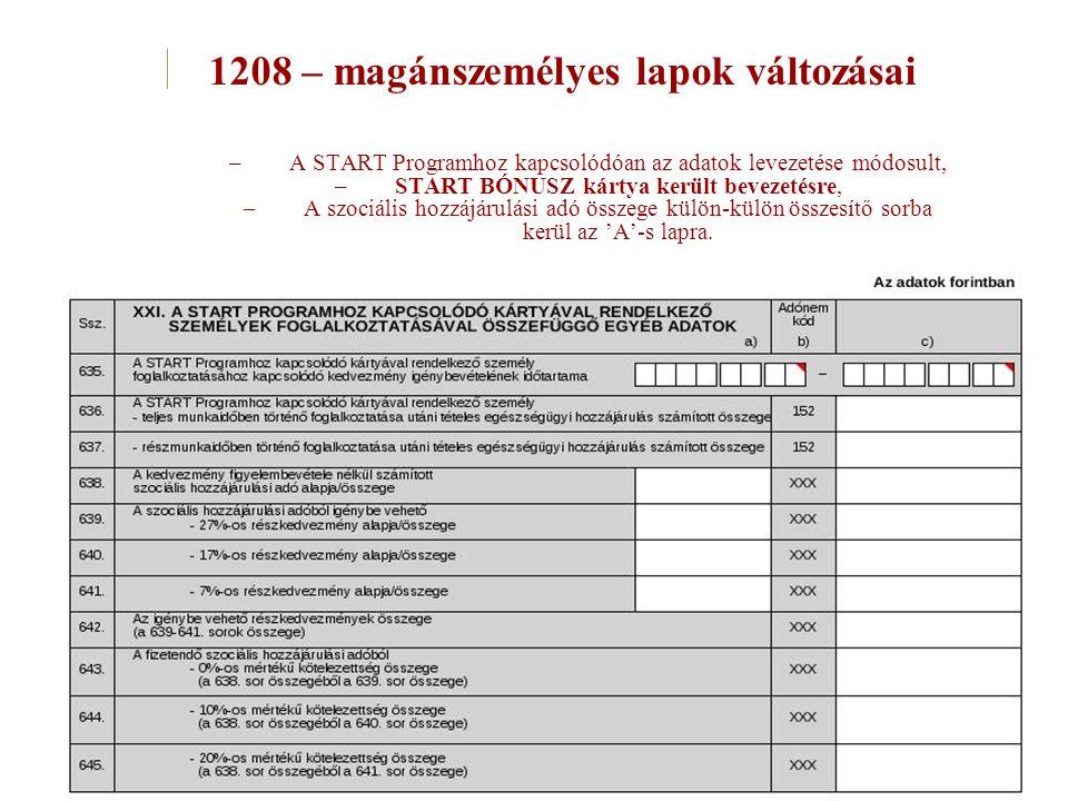 –A START Programhoz kapcsolódóan az adatok levezetése módosult, –START BÓNUSZ kártya került bevezetésre, –A szociális hozzájárulási adó összege külön-