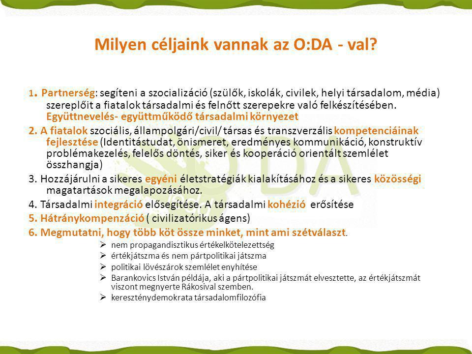 Milyen céljaink vannak az O:DA - val? 1. Partnerség: segíteni a szocializáció (szülők, iskolák, civilek, helyi társadalom, média) szereplőit a fiatalo