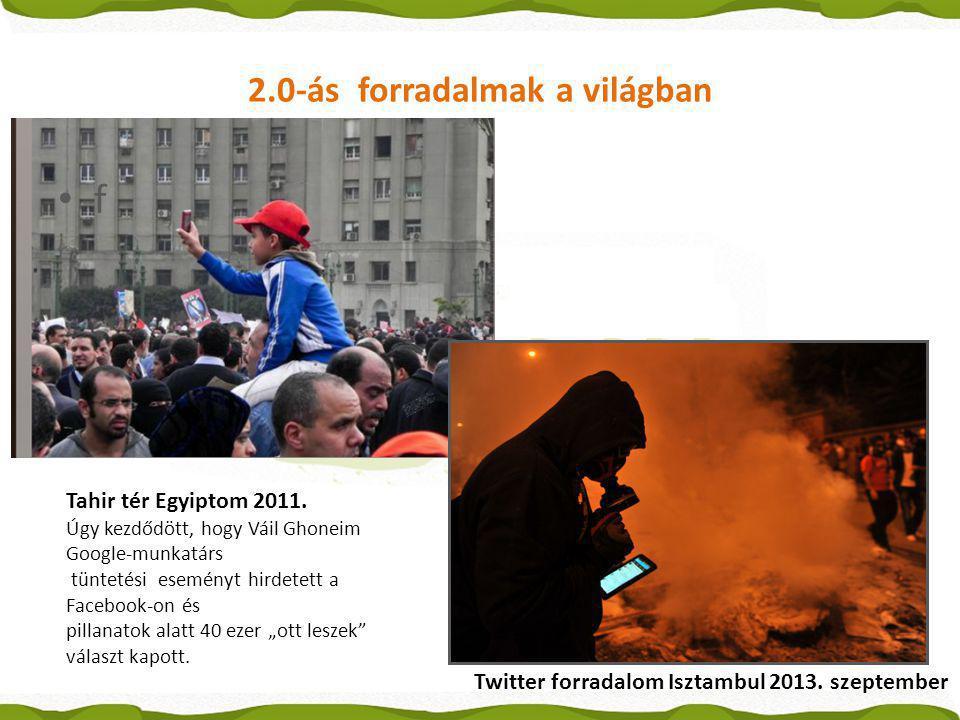 2.0-ás forradalmak a világban Tahir tér Egyiptom 2011. Úgy kezdődött, hogy Váil Ghoneim Google-munkatárs tüntetési eseményt hirdetett a Facebook-on és