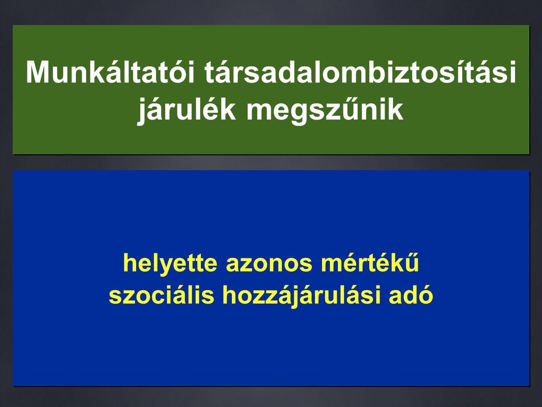 Munkáltatói társadalombiztosítási járulék megszűnik helyette azonos mértékű szociális hozzájárulási adó helyette azonos mértékű szociális hozzájárulási adó