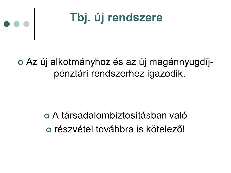 Tbj. új rendszere Az új alkotmányhoz és az új magánnyugdíj- pénztári rendszerhez igazodik.
