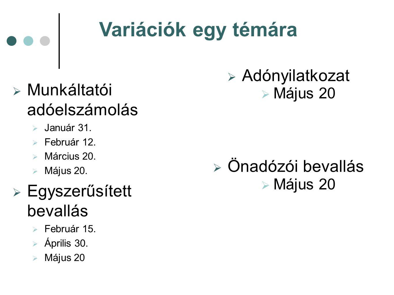 Variációk egy témára  Munkáltatói adóelszámolás  Január 31.