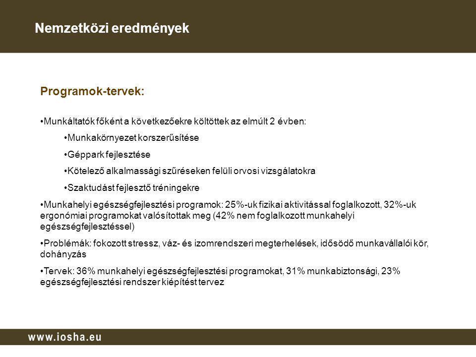 Magyar vállalatokról Munkáltatói felkérésre 206, a munkavállalói képviseleti felkérésre 117 értékelhető kitöltött kérdőív érkezett Főként magyar tulajdonú, termelés és előállítás/közszféra, 1990 előtt és 1990-2005 között alapított cégek képviseltették magukat Gazdasági válság hatása: bevétel csökkenés (73%), létszámcsökkentés (31%), munkavédelemre fordított összegek csökkentése (31%) Általános vállalati jellemzők: