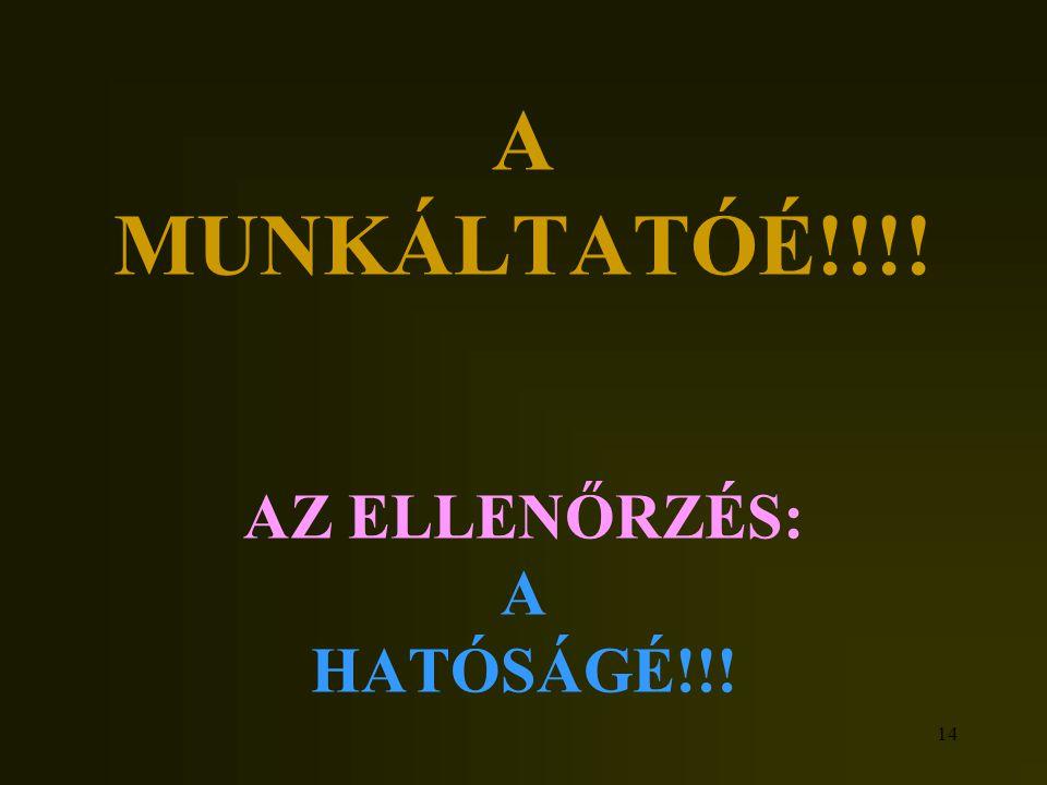 14 A MUNKÁLTATÓÉ!!!! AZ ELLENŐRZÉS: A HATÓSÁGÉ!!!