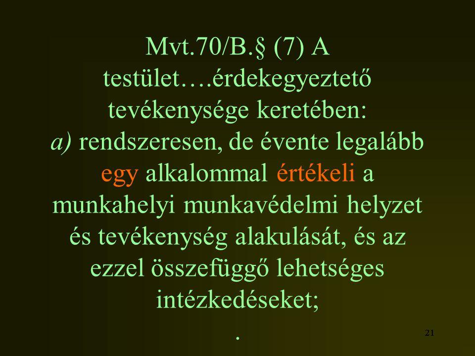 21 Mvt.70/B.§ (7) A testület….érdekegyeztető tevékenysége keretében: a) rendszeresen, de évente legalább egy alkalommal értékeli a munkahelyi munkavéd