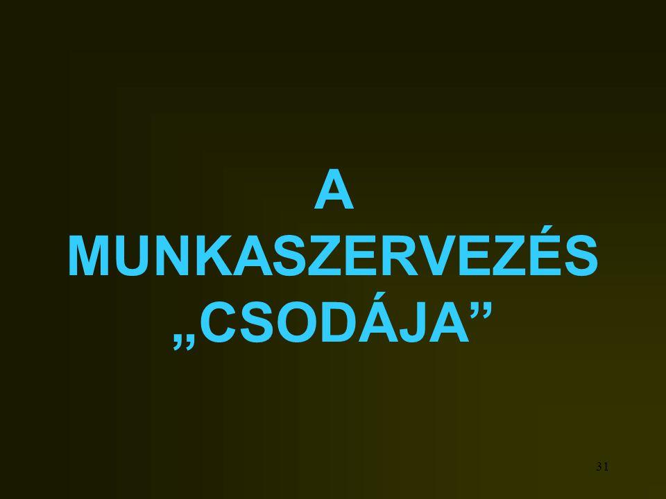 """31 A MUNKASZERVEZÉS """"CSODÁJA"""""""