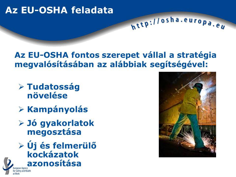 Az EU-OSHA feladata  Tudatosság növelése  Kampányolás  Jó gyakorlatok megosztása  Új és felmerülő kockázatok azonosítása Az EU-OSHA fontos szerepet vállal a stratégia megvalósításában az alábbiak segítségével: