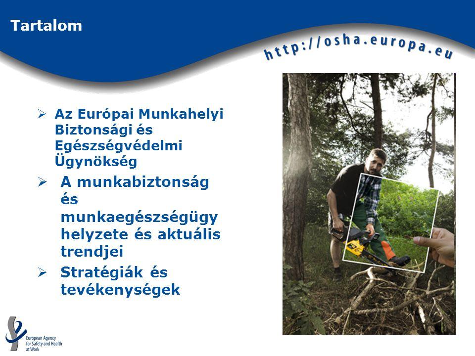 Tartalom  Az Európai Munkahelyi Biztonsági és Egészségvédelmi Ügynökség  A munkabiztonság és munkaegészségügy helyzete és aktuális trendjei  Stratégiák és tevékenységek