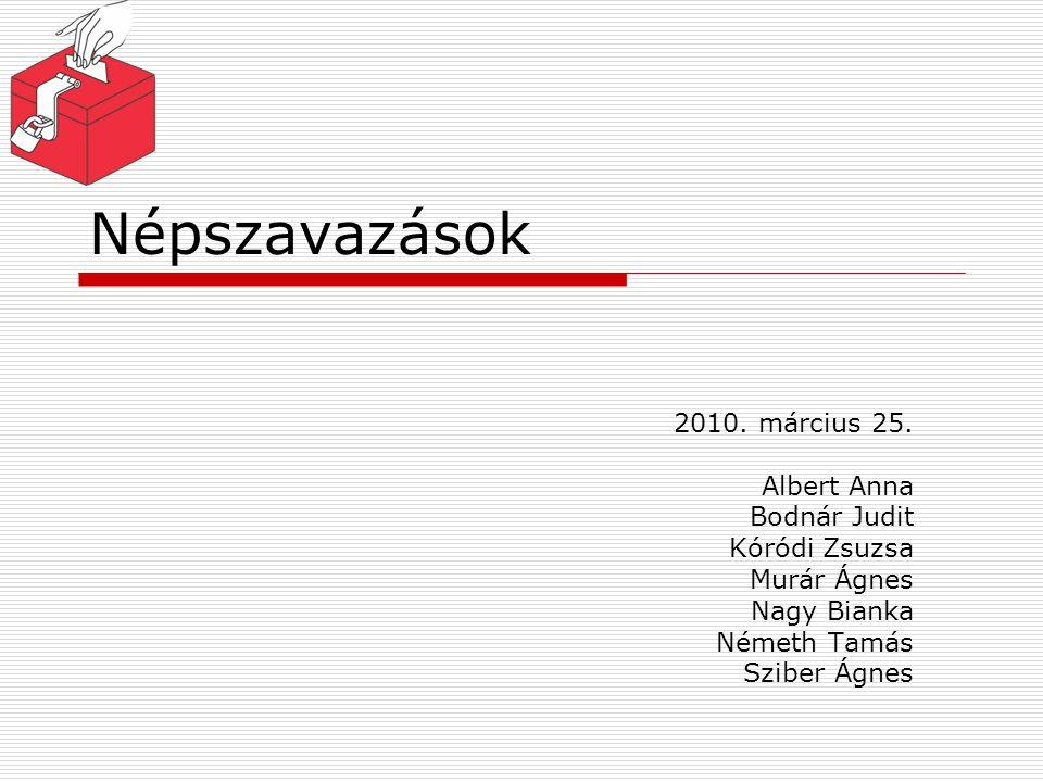 Népszavazások 2010. március 25. Albert Anna Bodnár Judit Kóródi Zsuzsa Murár Ágnes Nagy Bianka Németh Tamás Sziber Ágnes