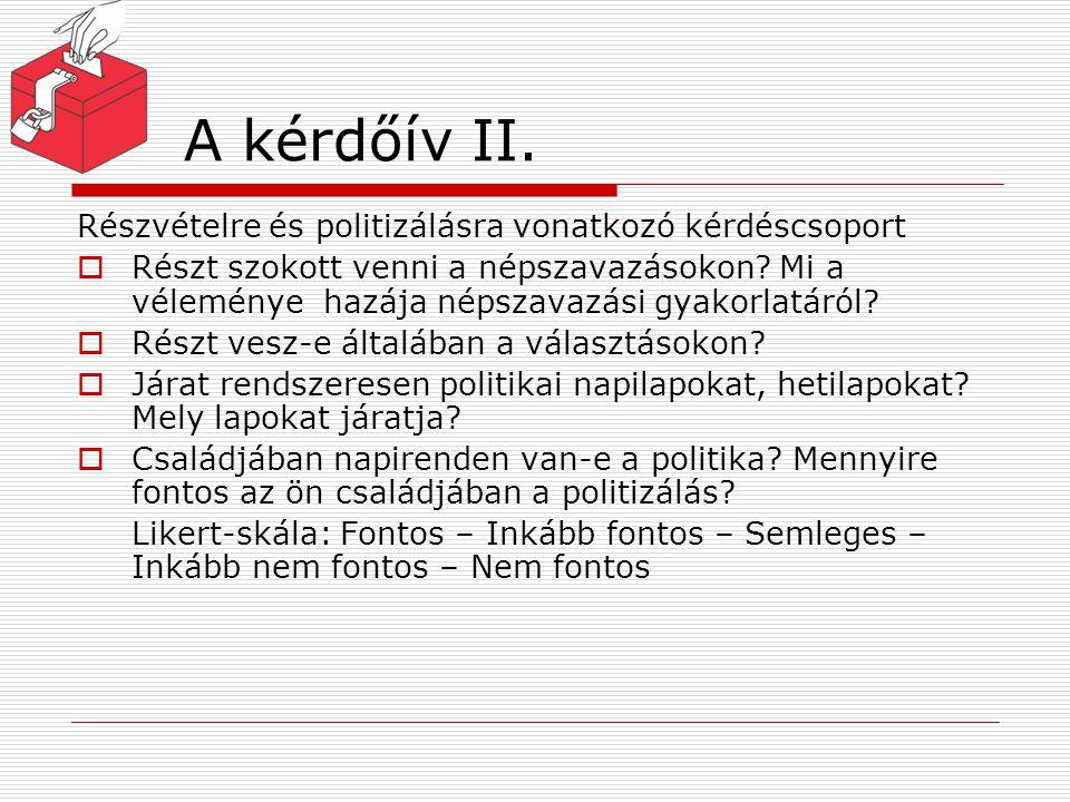 A kérdőív II. Részvételre és politizálásra vonatkozó kérdéscsoport  Részt szokott venni a népszavazásokon? Mi a véleménye hazája népszavazási gyakorl