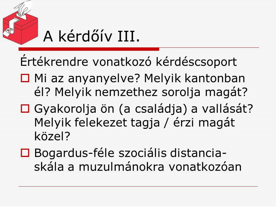 A kérdőív III. Értékrendre vonatkozó kérdéscsoport  Mi az anyanyelve? Melyik kantonban él? Melyik nemzethez sorolja magát?  Gyakorolja ön (a családj