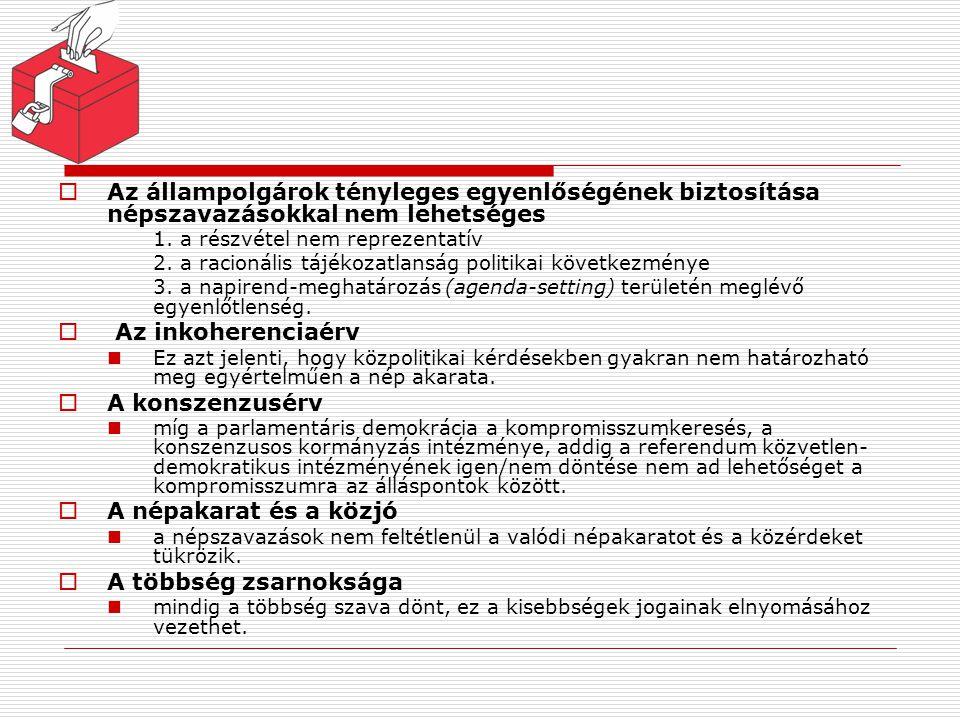 A népszavazás és a képviseleti kormányzás összeegyeztethetősége ReferendumPlebiszcitumIniciatíva Kötőerő/ kezdeményez ő törvényhozásvégrehajtásnép Tiszta parlamentariz -mus +-- (Fél)elnöki rendszer ++- Vegyes alkotmány +++