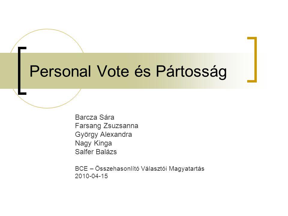 Personal Vote és Pártosság Barcza Sára Farsang Zsuzsanna György Alexandra Nagy Kinga Salfer Balázs BCE – Összehasonlító Választói Magyatartás 2010-04-