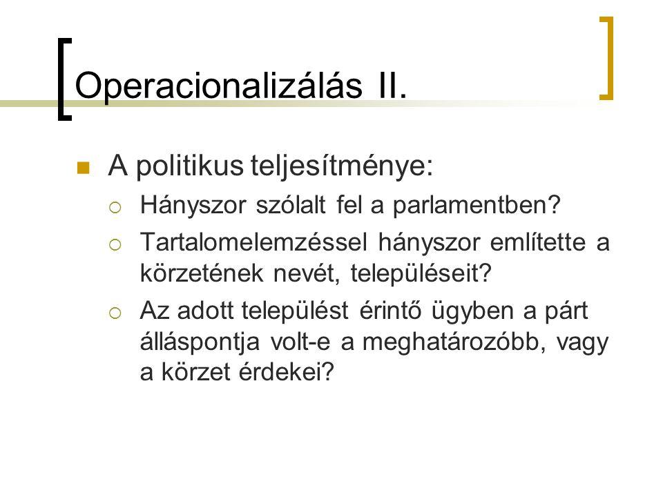 Operacionalizálás II. A politikus teljesítménye:  Hányszor szólalt fel a parlamentben?  Tartalomelemzéssel hányszor említette a körzetének nevét, te