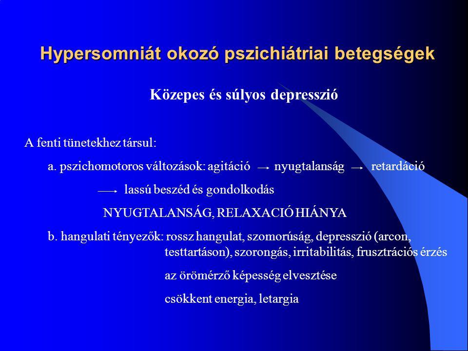 Hypersomniát okozó pszichiátriai betegségek Enyhe depresszió a.Az érdeklődés, szociális kapcsolatok iránti érdeklődés csökken Az aktivitás örömének negálása Az étvágy csökkenése Rosszullét érzése Bűnösségérzés Fokozott alkohol fogyasztás a koncentrálás és döntés létrehozására b.Rossz hangulat Csökkent energia és örömérzés Rossz alvás,el- és átalvási zavar, majd hypersomnia Szorongás, fóbia, obszcessziv tünetek